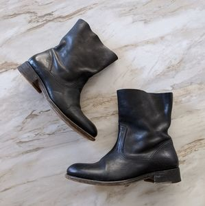 ndc black leather low moto ankle boots 35.5/